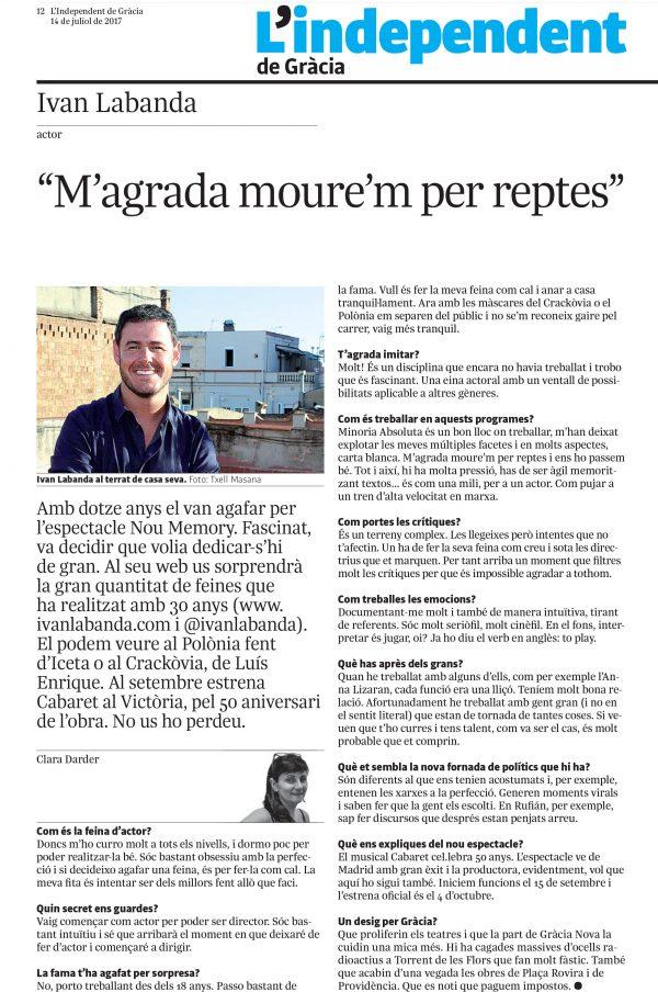 Entrevista L'Independent de Gràcia